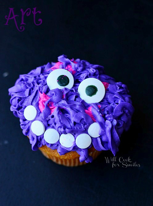Monsters University Monster Cupcakes 6 from willcookforsmiles.com #monsters #cupcakes #party