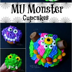 collage of monster cupcakes 6 pictures in all