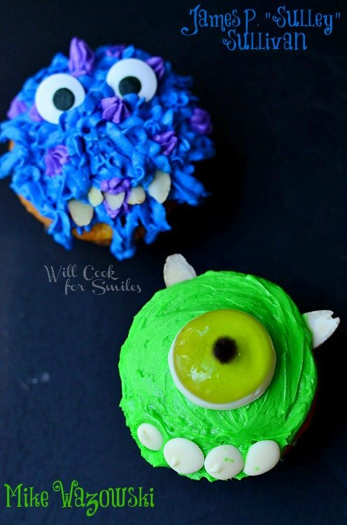 Monsters University Monster cupcakes 7 from willcookforsmiles.com #monsters #cupcakes #party