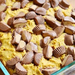 baking pan with peanut butter cup pumpkin cookies