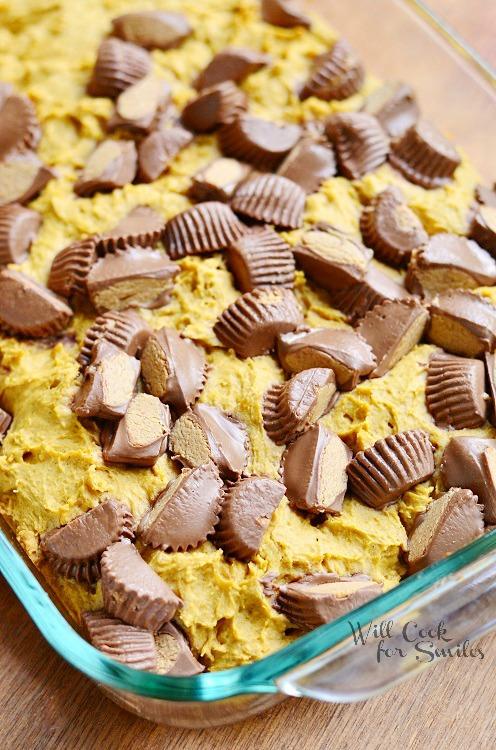Peanut Butter Cup Pumpkin Cookies 1 from willcookforsmiles.com #reeses #pumpkin #cookiebar