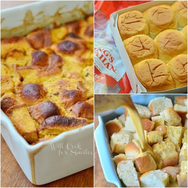 Pumpkin Bread Pudding Collage from willcookforsmiles.com #breadpudding #caramel #pumpkin