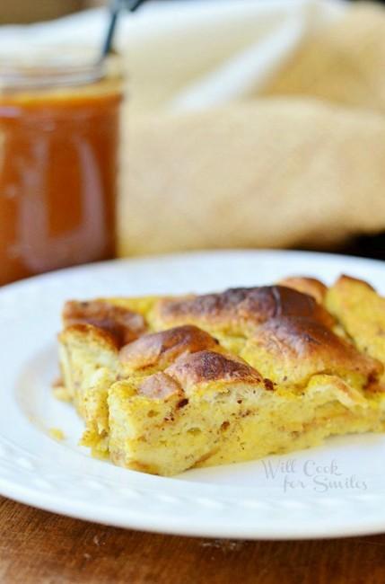 Pumpkin Bread Pudding  from willcookforsmiles.com #breadpudding #caramel #pumpkin