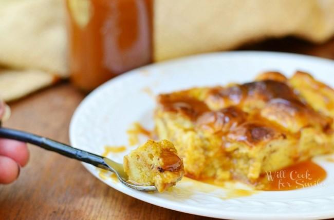 Pumpkin Bread Pudding with Homemade Caramel 3  from willcookforsmiles.com #breadpudding #caramel #pumpkin