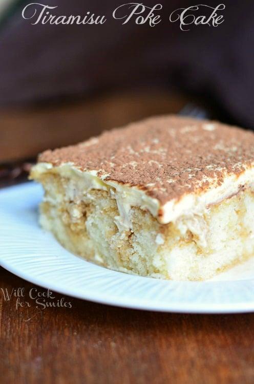 Tiramisu Poke Cake 3 © willcookforsmiles.com #cake #tiramisu #pokecake #whitecake