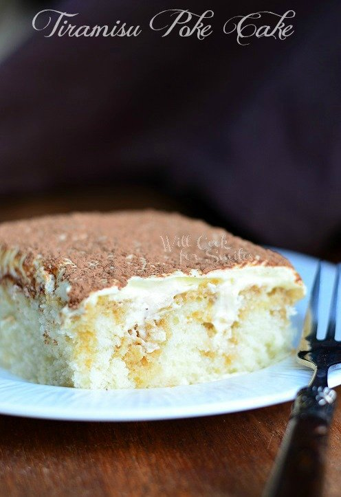 Tiramisu Poke Cake 4 © willcookforsmiles.com #cake #tiramisu #pokecake #whitecake