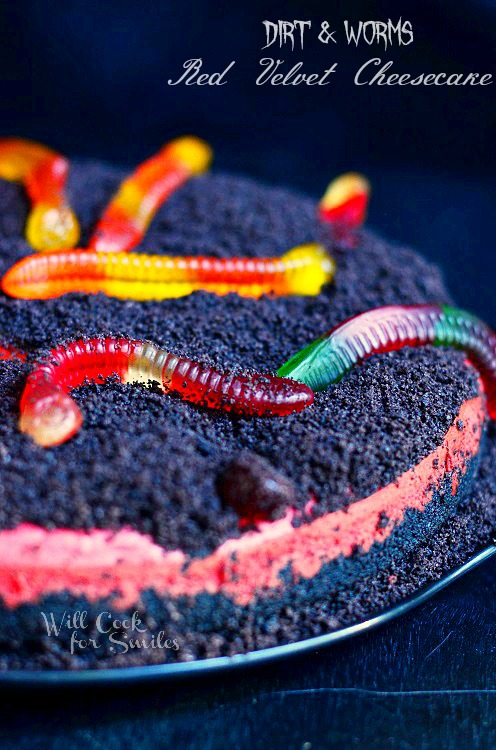 Worms and Dirt Red Velvet Cheesecake © willcookforsmiles.com #cheesecake #halloween