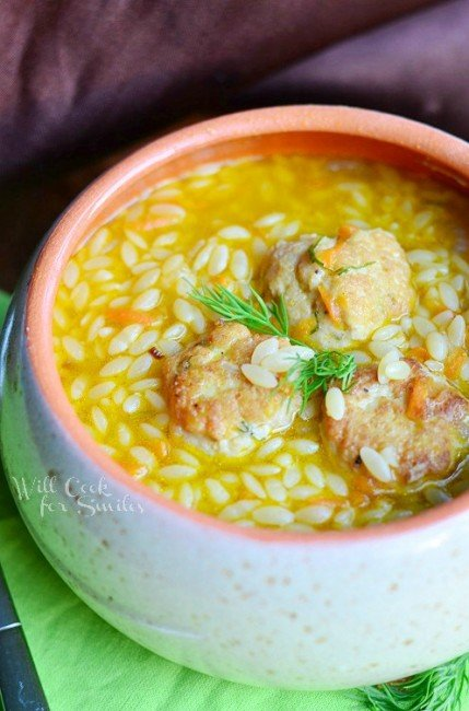 Chicken Meatball Orzo Soup 2 from willcookforsmiles.com #soup #chickensoup #orzo