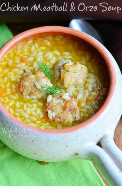 top view of Chicken Meatball Orzo Soup