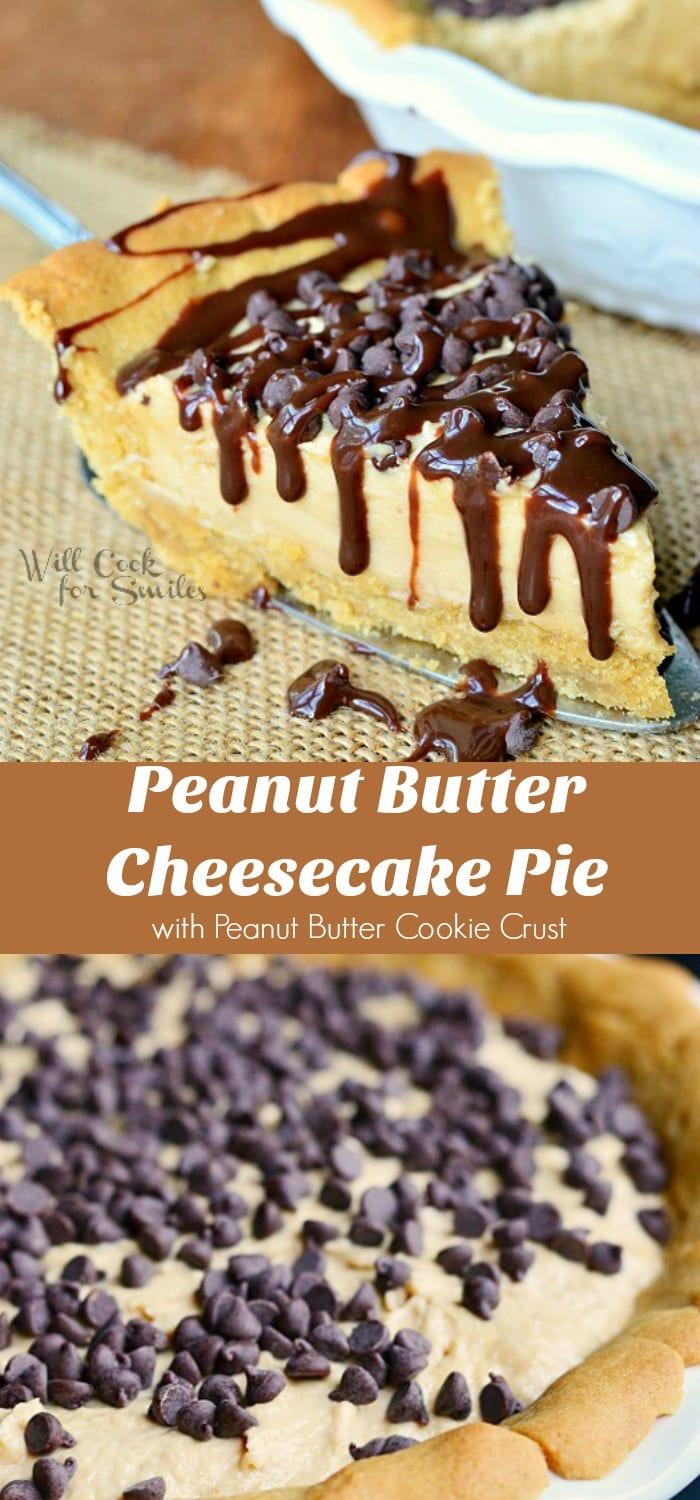 Peanut Butter Cheesecake Pie with Peanut Butter Cookie Crust. This Peanut Butter Cheesecake Pie is made with no bake cheesecake, peanut butter cookie crust, chocolate chips on top, and drizzles with chocolate sauce. #pie #cheesecake #peanutbutter chocolatepeanutbutter #cookiecrust