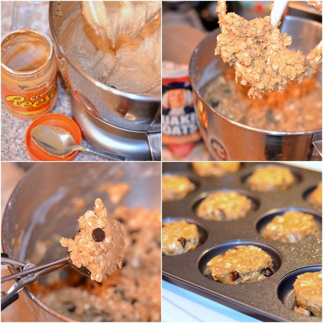 Peanut Butter Oatmeal Cookies with Chocolate Chips Collage