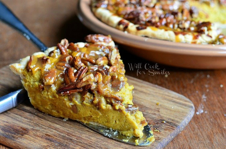 Pecan-Caramel Pumpkin Cheesecake Pie 5  from willcookforsmiles.com #pie #pumpkin #caramel