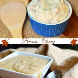 photo collage of 2 different types of gravy white on top and brown on bottom
