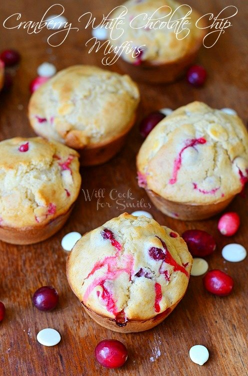 Cranberry White Chocolate Chip Muffins 2 from willcookforsmiles.com #muffins #cranberry