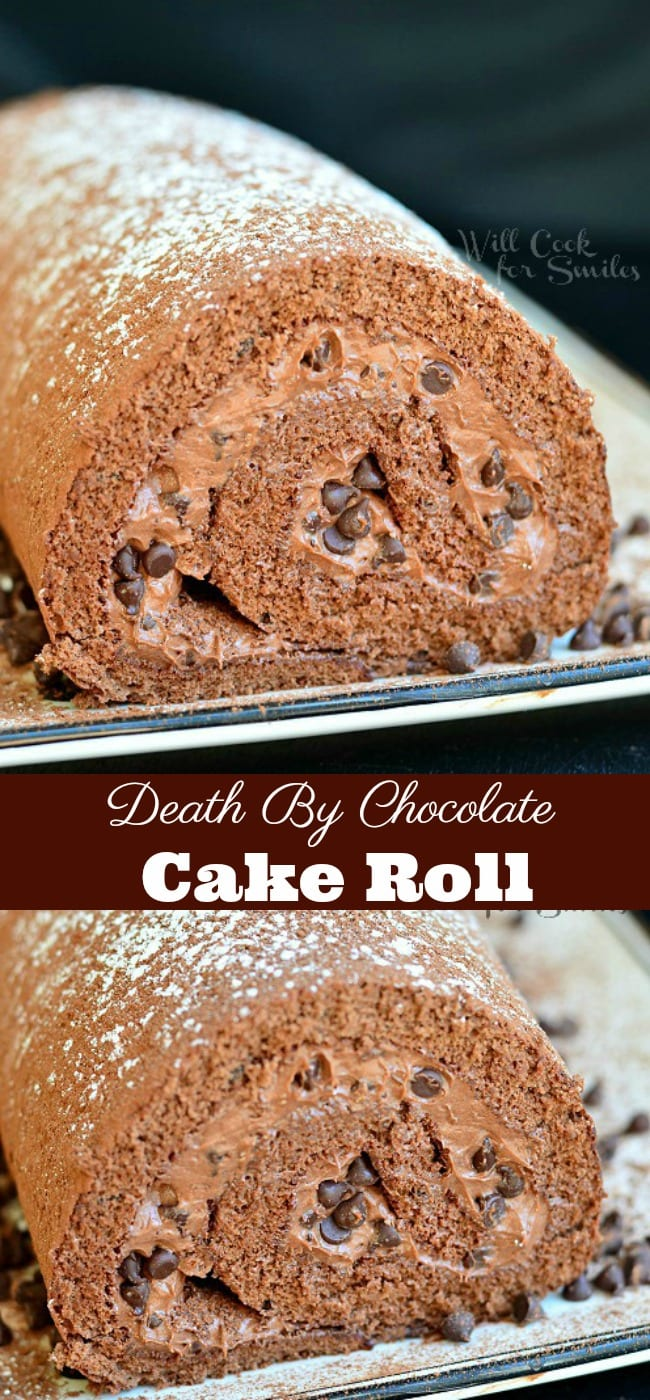 Death By Chocolate Cake Roll is a delightful, soft chocolate cake recipe rolled with silky chocolate cream filling, and mixed with some mini chocolate morsels. #chocolate #cake #chocolatecake #cakeroll #chocolatefrosting