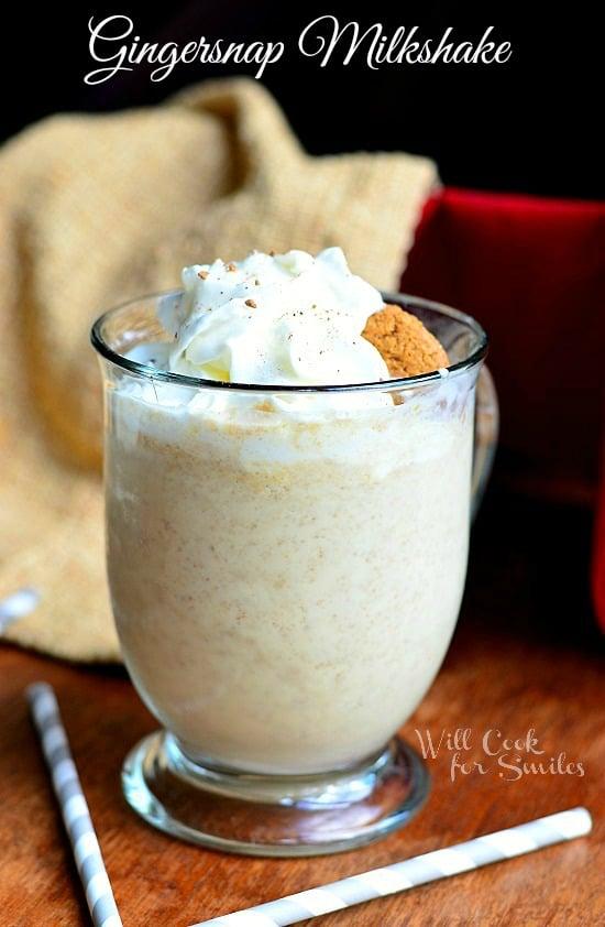 Gingersnap Milkshake | from willcookforsmiles.com #milkshake #gingersnap