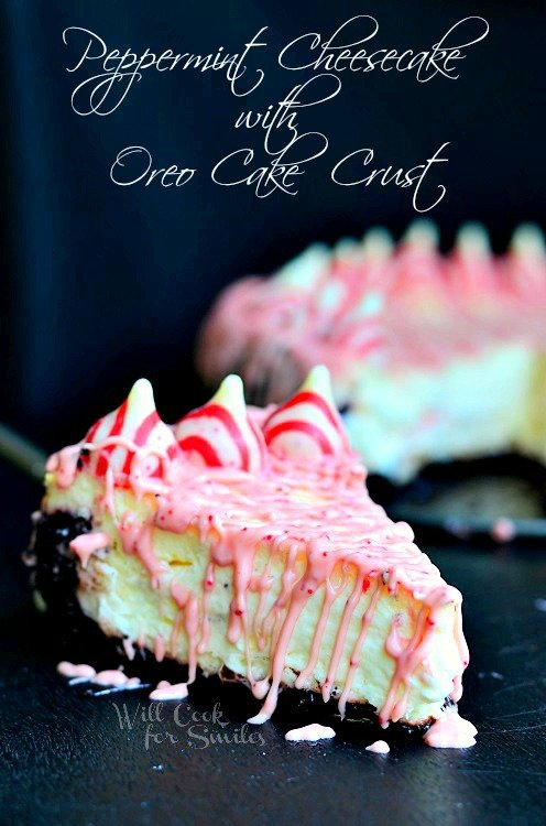 Peppermint Cheesecake with Oreo Cake Crust 3 from willcookforsmiles.com #cheesecake #peppermint #oreo