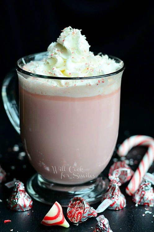 Peppermint White Chocolate Hot Cocoa 2 from willcookforsmiles.com #peppermint #drink #hotcocoa