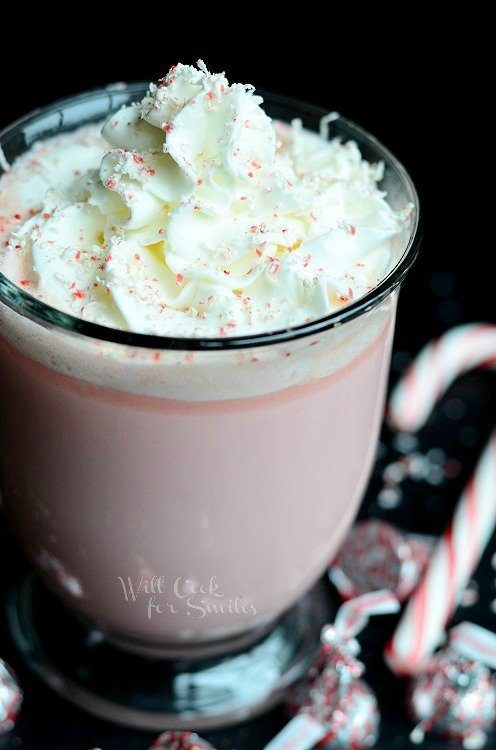Peppermint White Chocolate Hot Cocoa 3 from willcookforsmiles.com #peppermint #drink #hotcocoa