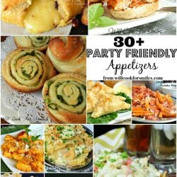 collage of pictures for 30 plus party friendly appetizers