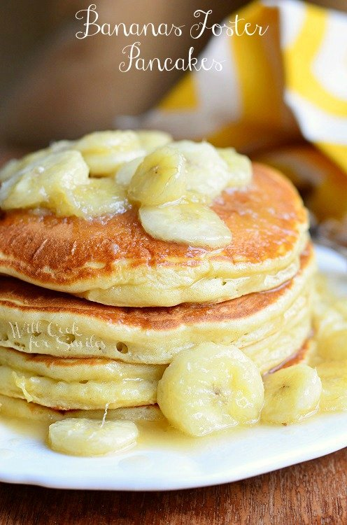 Bananas Foster Pancakes on a plate