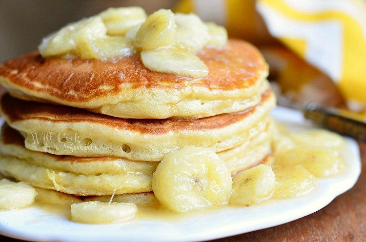 Bananas Foster Pancakes 2 from willcookforsmiles.com #pancakes #bananasfoster