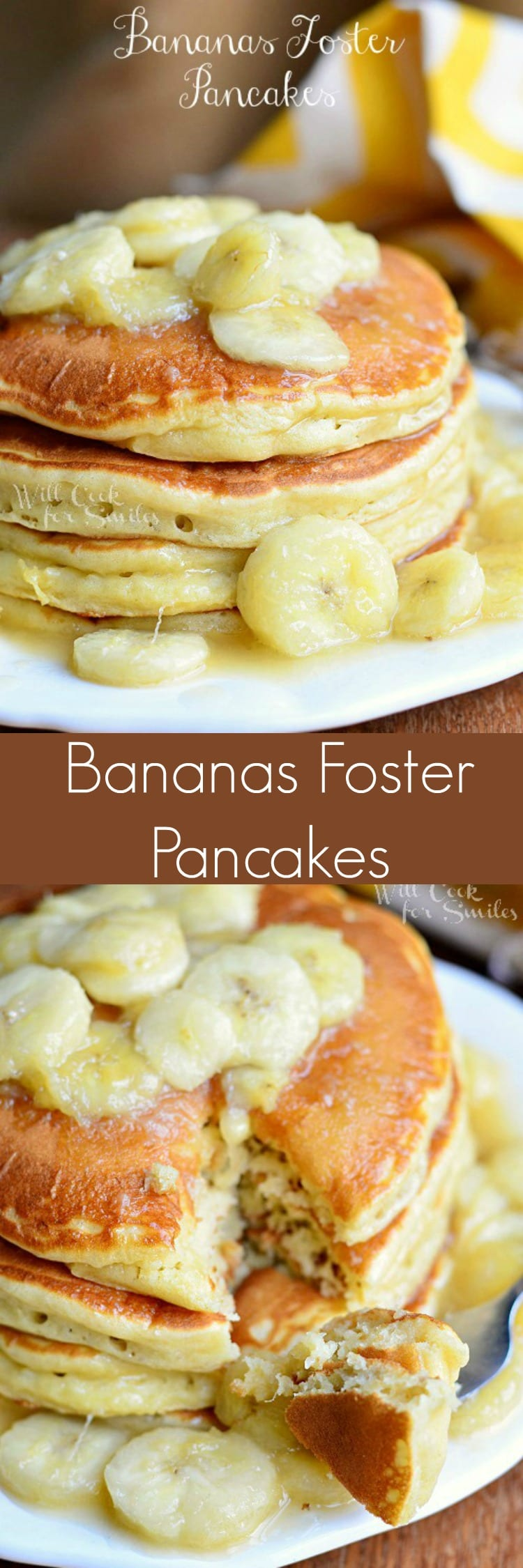 Bananas Foster Pancakes make a beautiful and sweet breakfast idea to share with someone special this upcoming Valentine's Day! These soft and fluffy banana buttermilk pancakes topped with bananas foster sauce! #pancakes #bananasfoster #banana