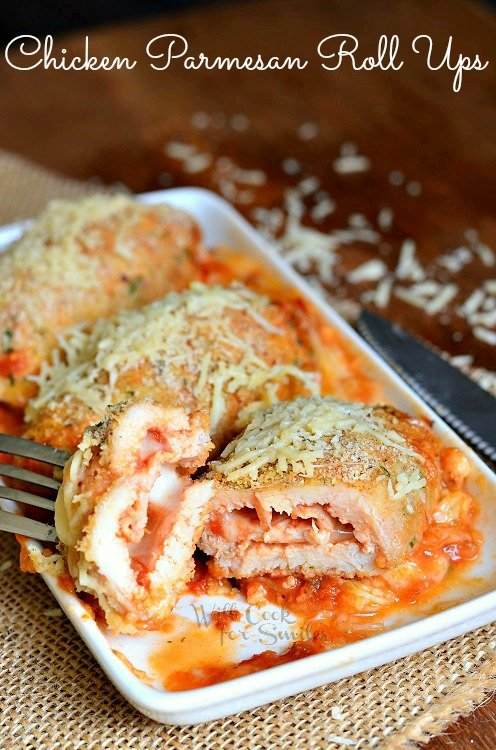 Chicken Parmesan Roll Ups 1 from willcookforsmiles.com #chicken #chickenparmesan #chickenrollups