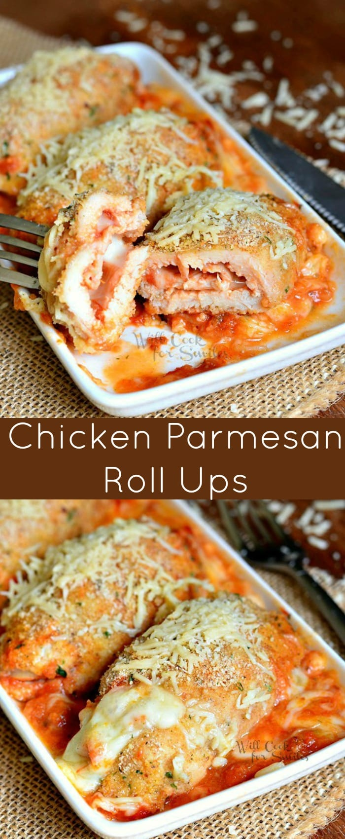 Chicken Parmesan Roll Ups Recipe (and demo video). This is an amazing chicken dinner idea that is fun for kids and adults! Delicious Chicken Parmesan made into a roll up makes a flavorful, juicy and tender chicken dish. #chicken #chickenparmesan #chickenparm #easydinner #rollups