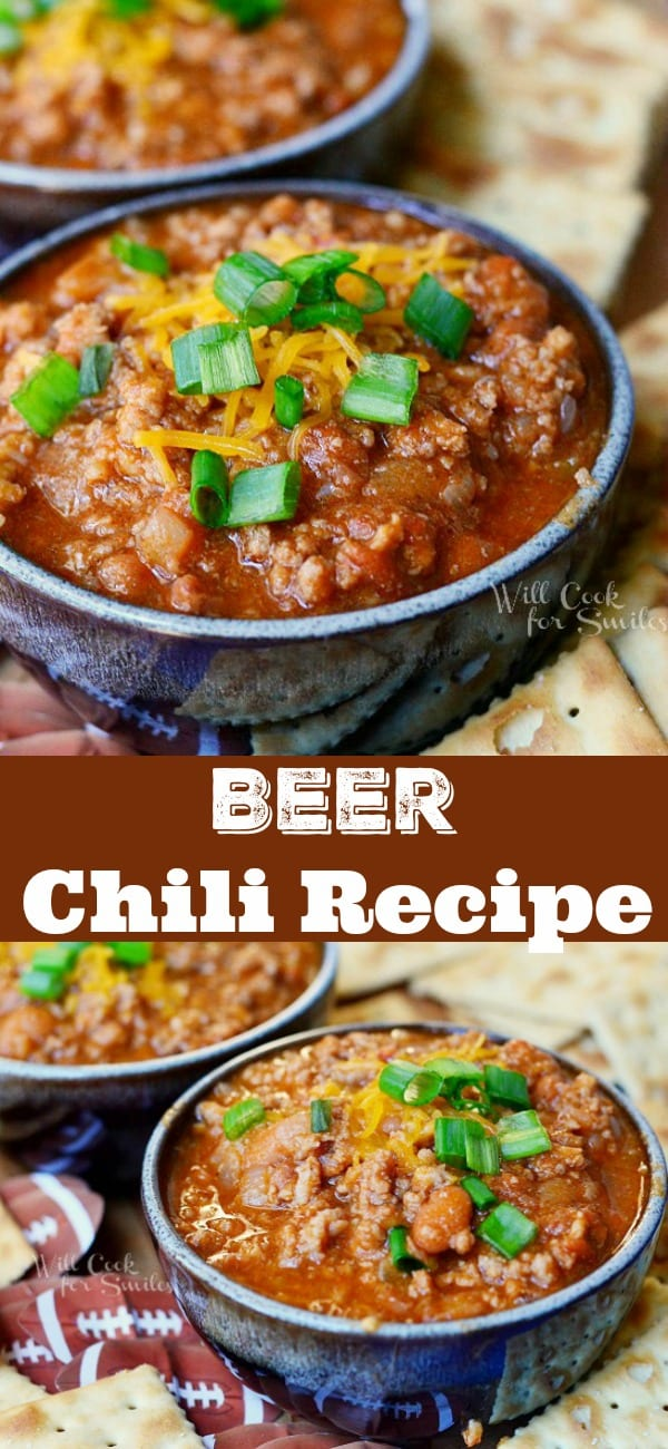 Amazing Chili Recipe with Beer. Comforting chili made with a combination of ground beef and ground pork, beans, vegetables, chili seasoning, and your favorite beer. #chili #beef #groundbeef #partyfood