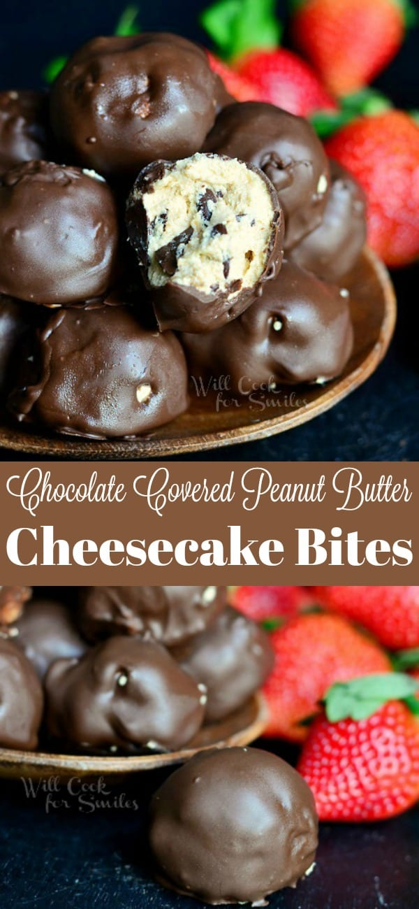 No Bake Chocolate Covered Peanut Butter Cheesecake Bites. Indulgent bites of peanut butter cheesecake mixed with mini chocolate chips and covered in sweet and smooth Ghirardelli melted chocolate. #chocolate #peanutbutter #cheesecake #nobakedessert