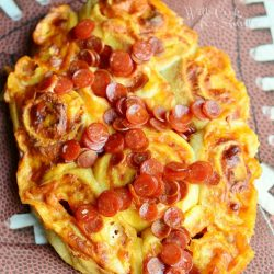 easy football pizza pinwheels on football napkins viewed from above