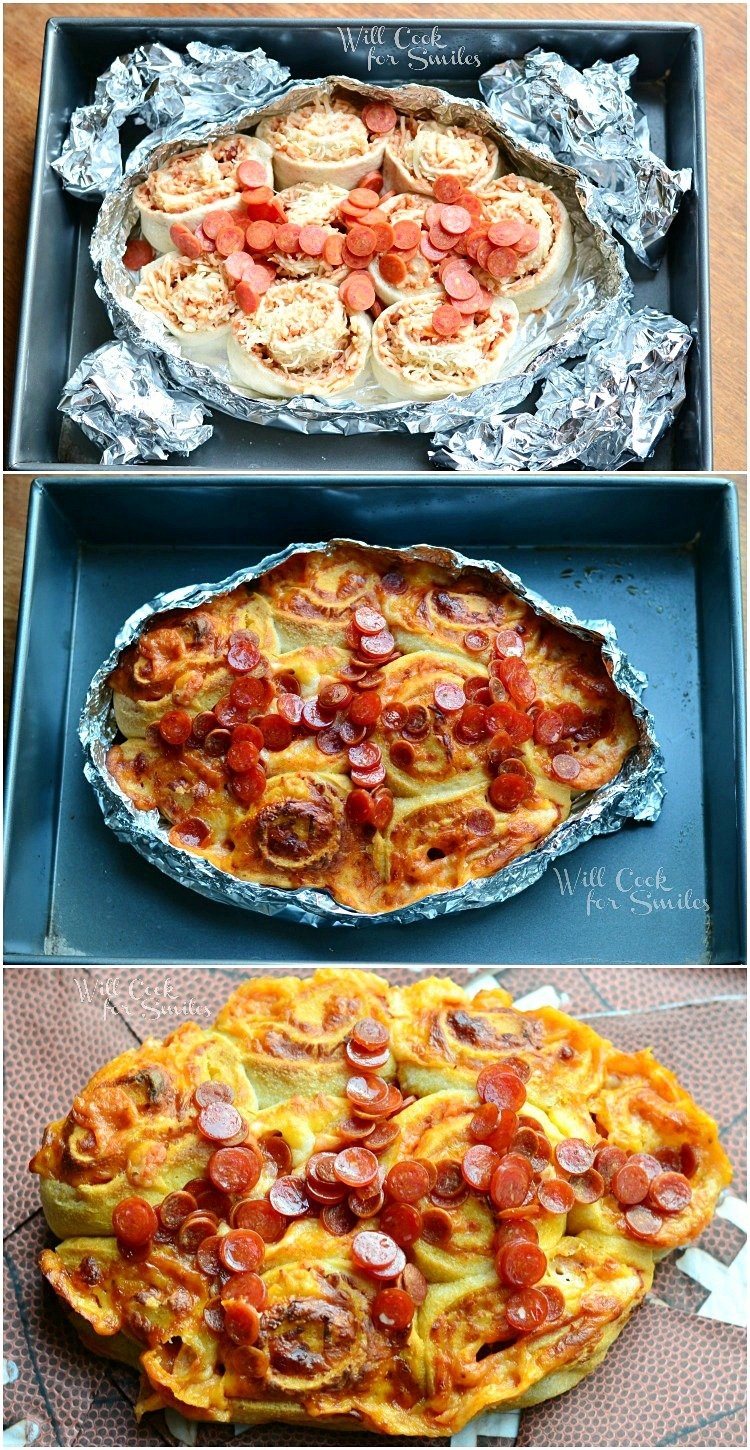 Easy Football Pizza Pinwheels from willcookforsmiles.com #football #pinwheel
