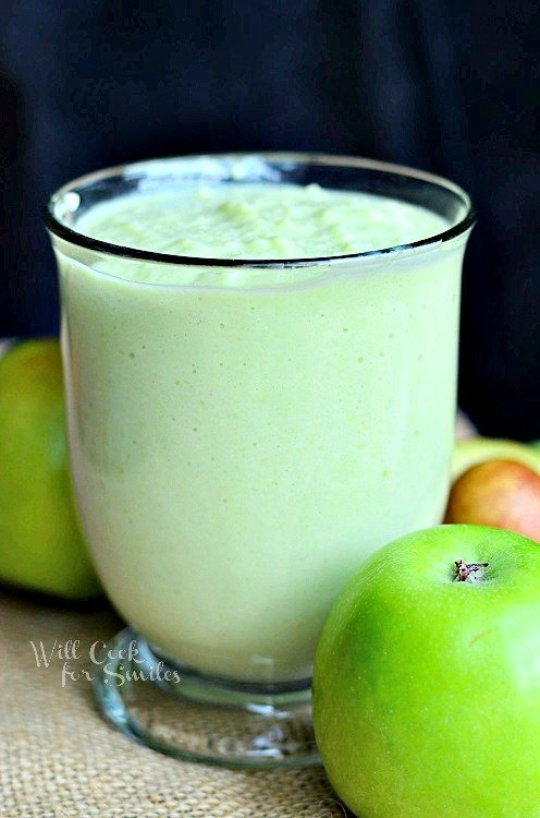 Green Apple Avocado Green Smoothie 3 from willcookforsmiles.com # ...