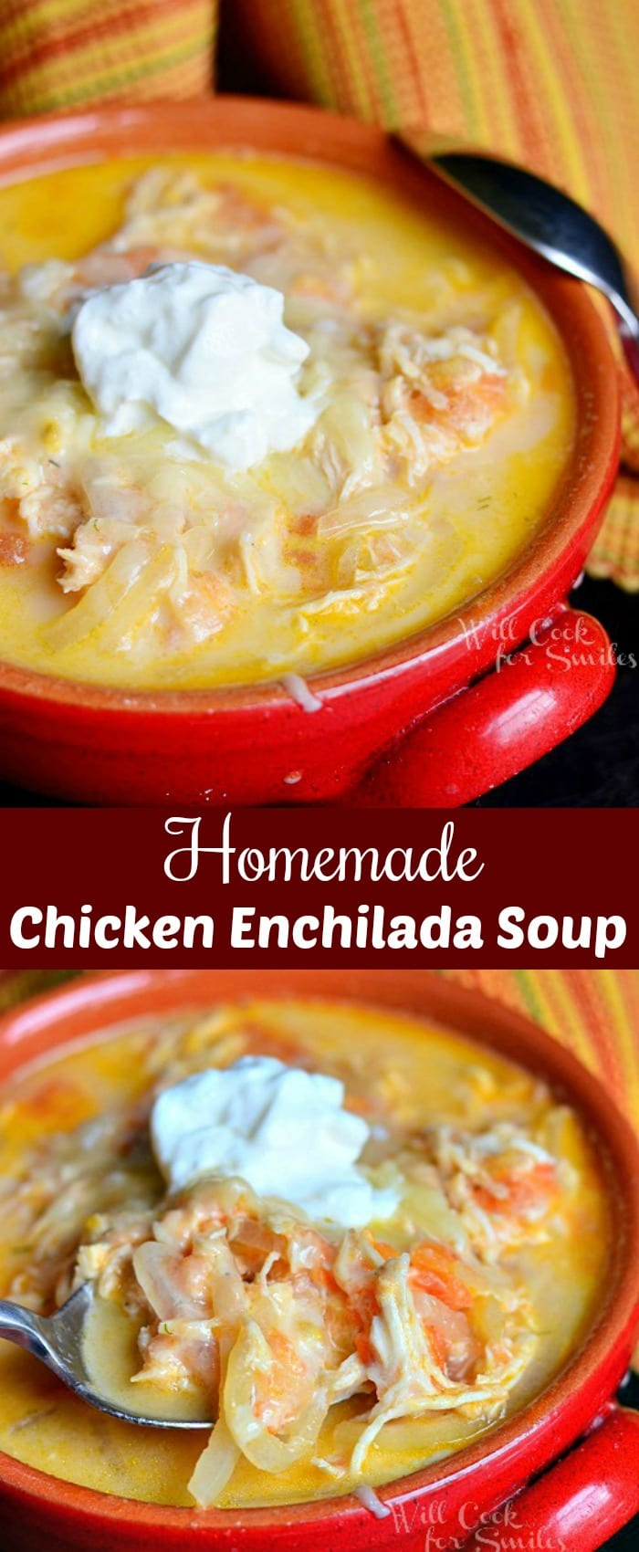 Homemade Creamy Chicken Enchilada Soup Recipe is a simple and comforting soup that captures the best chicken enchilada flavors. #soup #chickensoup #chickenenchilada #creamysoup