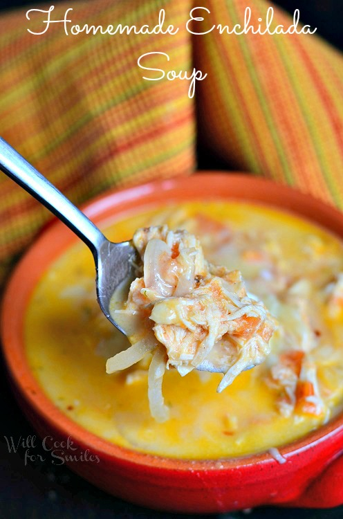 Homemade Enchilada Soup 4 from willcookforsmiles.com #soup #chicken