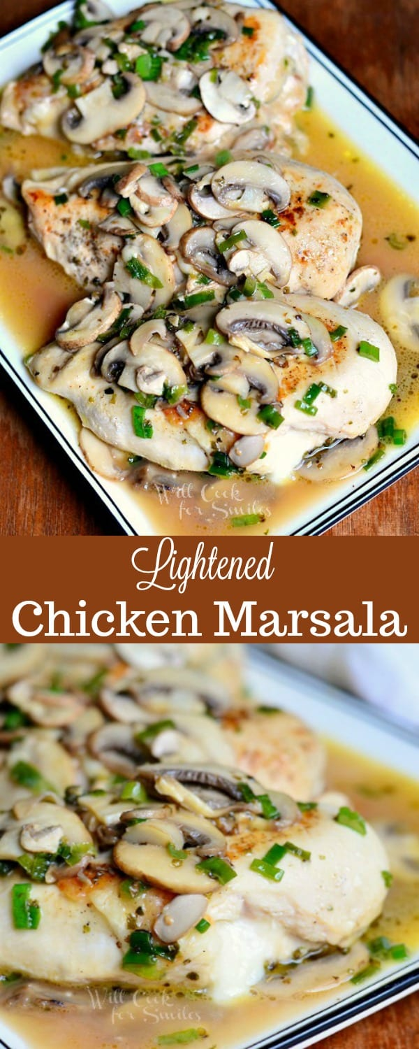Stuffed Chicken Marsala recipe. This is a lighter version of a classic chicken marsala recipe. This chicken is also stuffed with Mozzarella cheese inside for an extra special touch. #chicken #chickenmarsala #lightdinner #lightrecipe #chickendinner