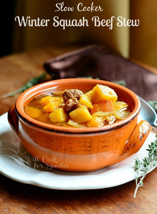 Slow Cooker Winter Squash Beef Stew 2 from willcookforsmiles.com #slowcooker #beefstew