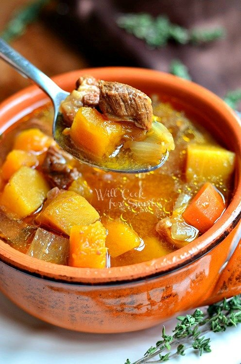 Slow Cooker Winter Squash Beef Stew 4 from willcookforsmiles.com #slowcooker #beefstew