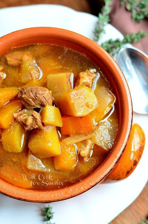 Slow Cooker Winter Squash Beef Stew  from willcookforsmiles.com #slowcooker #beefstew