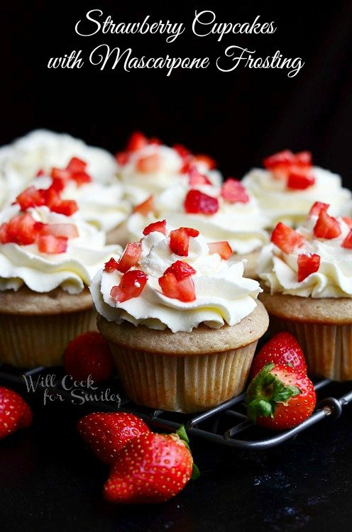 Strawberry Cupcakes with Mascarpone Frosting 1 from willcookforsmiles.com #cupcakes #strawberry #mascarpone
