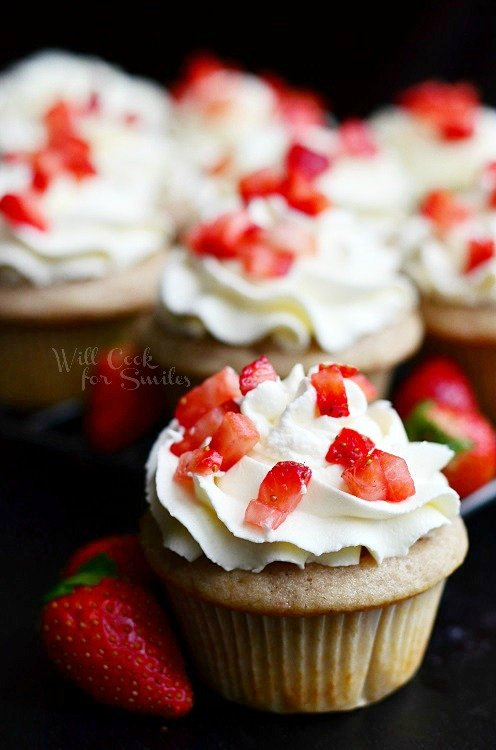 Strawberry Cupcakes with Mascarpone Frosting 2 from willcookforsmiles.com #cupcakes #strawberry #mascarpone