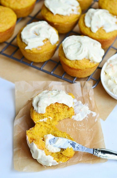 Carrot Muffins with Orange Cream Spread | from willcookforsmiles.com #muffins #carrot