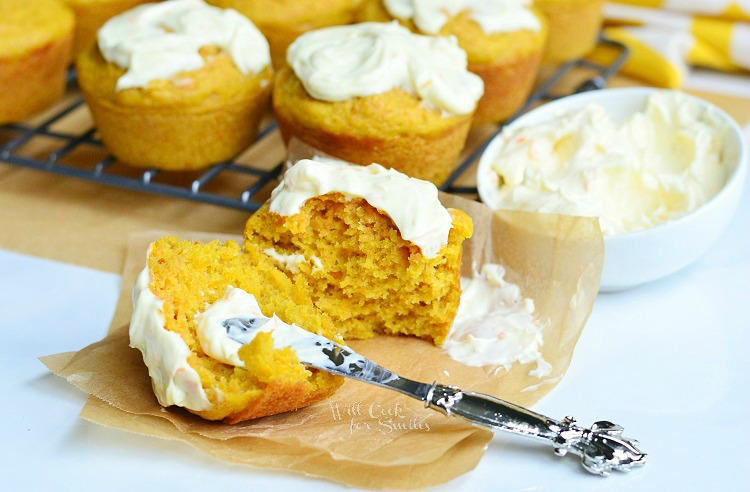 Carrot Muffins with Orange Cream Spread 4 from willcookforsmiles.com #muffins #carrot