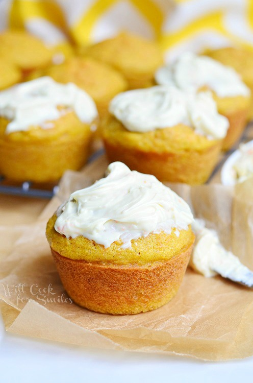 Carrot Muffins with Orange Cream Spread from willcookforsmiles.com #muffins #carrot