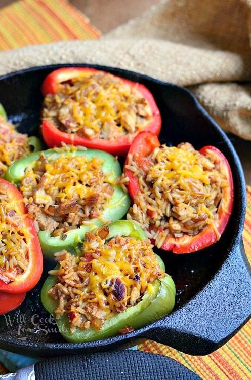 Chicken Fajita Stuffed Peppers in a cast iron pan