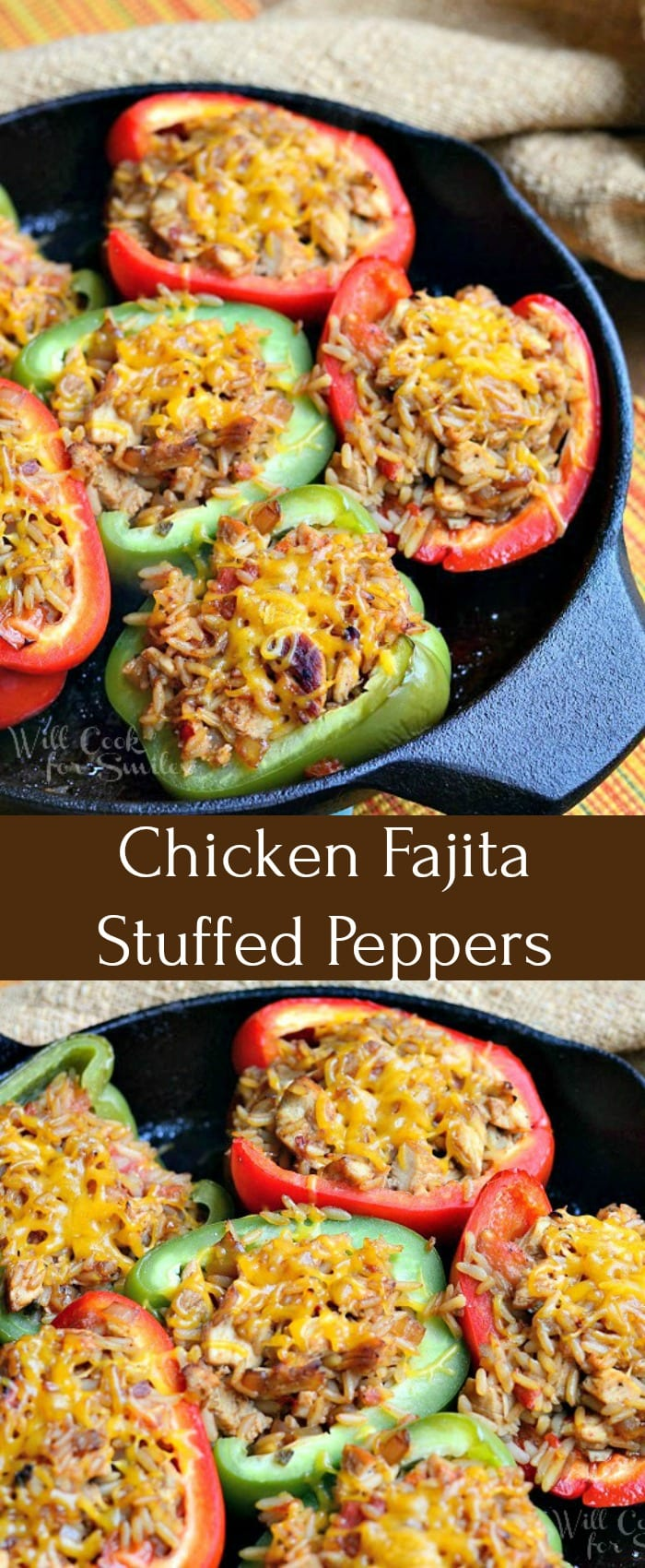 Chicken Fajita Stuffed Peppers Recipe. Delicious dinner made with red and green bellpeppers, stuffed with fajita marinated grilled chicken and Spanish rice mixture. #stuffedpeppers #chicken #rice #spanishrice #peppers