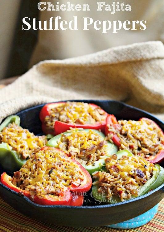 Chicken Fajitas Stuffed Peppers | from willcookforsmiles.com #stuffedpeppers #chicken #chickenrecipe