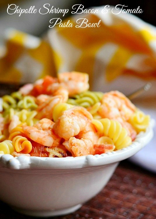 Chipotle Shrimp Bacon & Tomato Pasta Bowl | from willcookforsmiles.com #shrimp #pasta