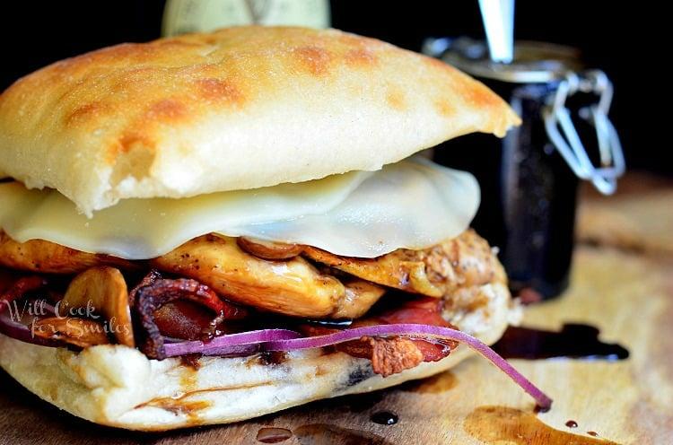 Guinness Glaze Chicken Sandwich 1 from willcookforsmiles.com #guinness #sandwich
